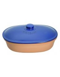 Chlebak RÖMERTOPF- owalny, terakota-niebieski